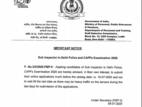 Staff Selection Commission (SSC) Recruitment 2020- CPO and CAPF Latest Update