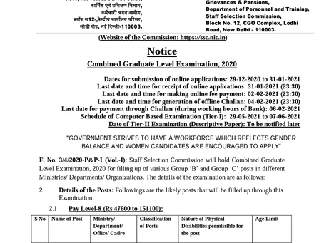 Staff Selection Commission CGL Exam 2020:  Notification Out.
