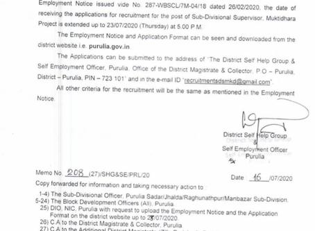 West Bengal Government Muktidhara Project Recruitment 2020 - Sub Divisional Supervisor Posts
