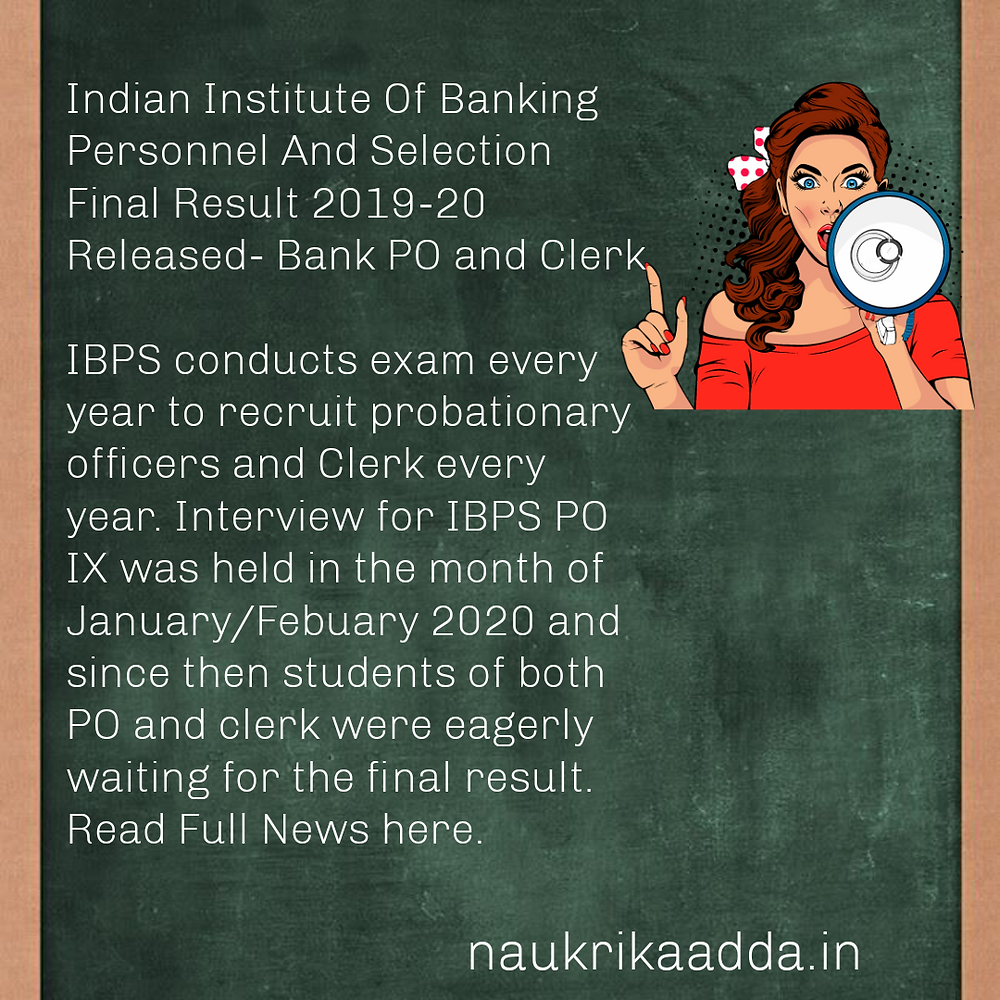 IBPS PO and Clerk Final Result