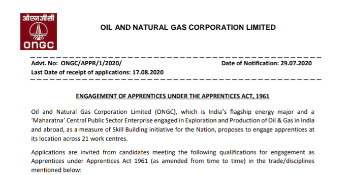 Oil and Natural Gas Corporation Limited (ONGC) - 4182 Apprentice Vacancies