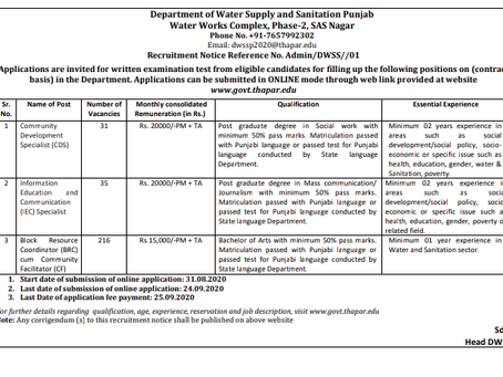 Department of Water Supply and Sanitation (DWSS), Punjab Recruitment 2020: 282 Various Vacancies
