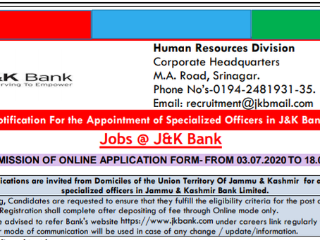 Jammu and Kashmir BANK Specialist Officers Recruitment 2020: Apply For Various Vacancies
