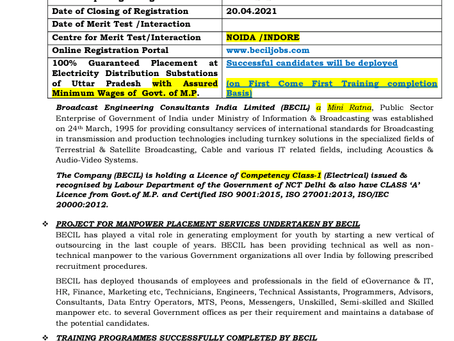 BECIL Skilled/ Semi Skilled/ Unskilled Manpower Recruitment 2021