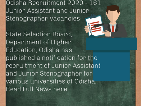 State Selection Board (SSB), Odisha Recruitment 2020 -171 Junior Assistant and Junior Stenographer