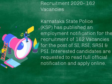Karnataka State Police (KSP) Recruitment 2020- 162 Vacancies. Last Date Extended