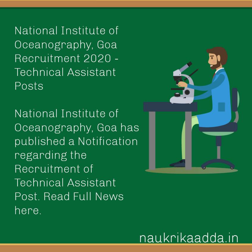 National Institute of Oceanography, Goa Recruitment 2020