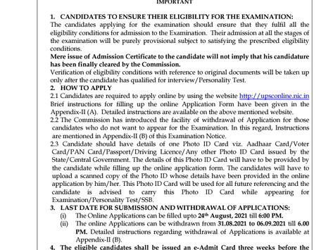 UPSC CDS Exam II 2021: Apply Now