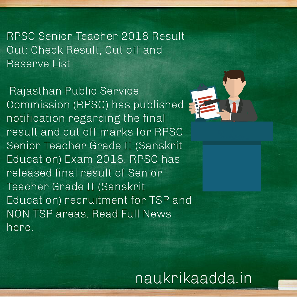 RPSC Senior Teacher Grade II Result