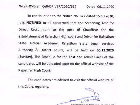 Rajasthan High Court, Jodhpur Chauffeur/ Driver Exam 2020 Date Out. Check Now