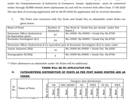 Assam Police Recruitment 2020 - Extension Officer, Economic Investigator, Jr Asst, Stenographer – II