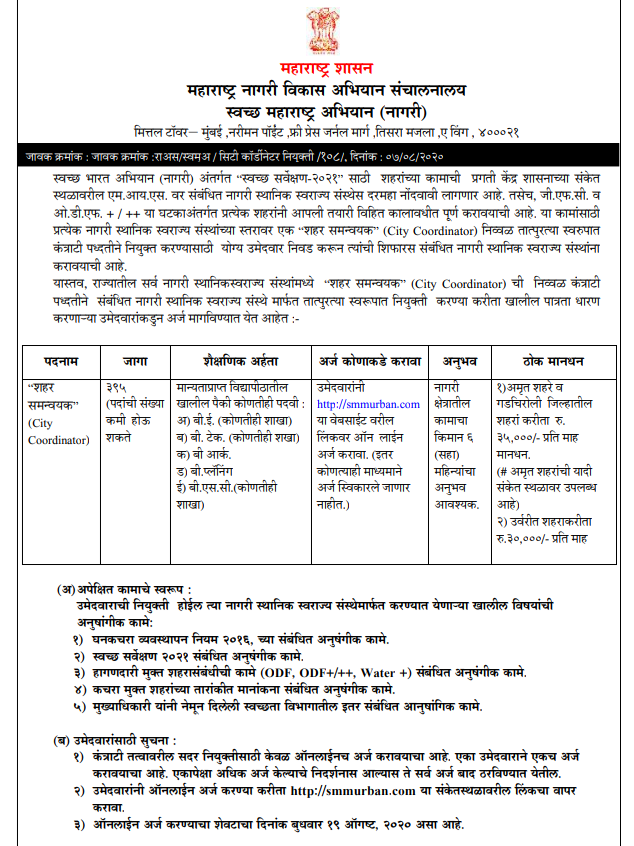 SMMURBAN Recruitment 2020: 395 Vacancies for City Coordinator Posts; Apply online now