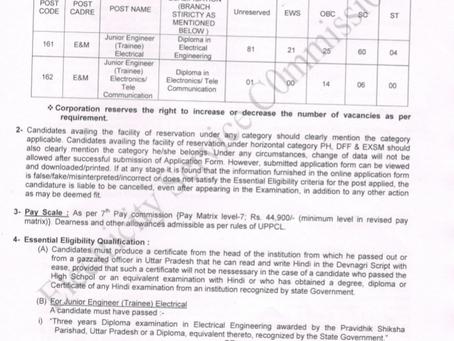 UPPCL Recruitment 2020: Junior Engineer Vacancies