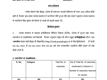 Punjab SSSB School Librarian Recruitment 2021: 750 Vacancies