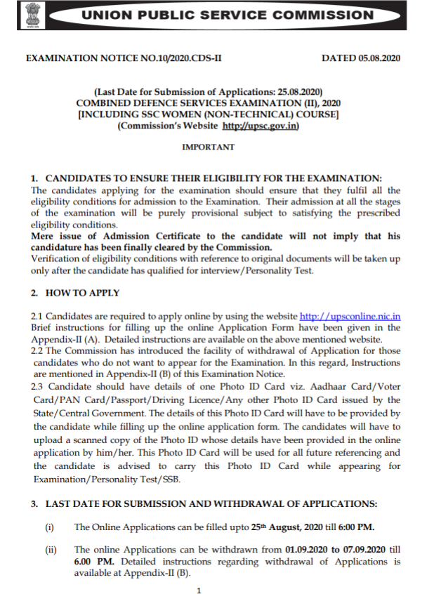 Armed Forces Officers (Army, Navy, Airforce) Recruitment 2020- Combined Defence Services Exam (CDS) 2 Notification Out