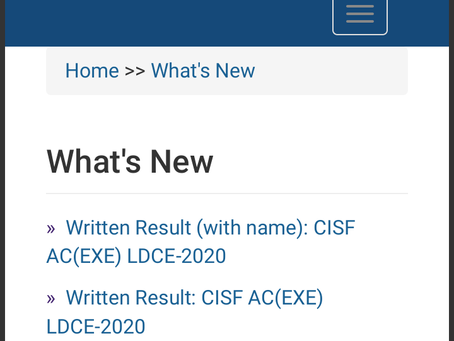 Union Public Service Commission (UPSC) CISF AC (EXE) LDCE 2020 - Written Result Declared. Check Now