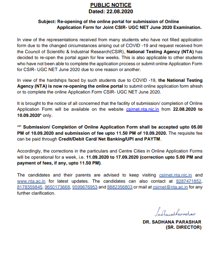 CSIR UGC NET Exam 2020: Application Form Re-opened. Apply Now