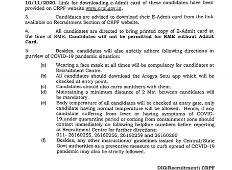 Staff Selection Commission (SSC) GD Constable Review Medical Examination Admit Card Out