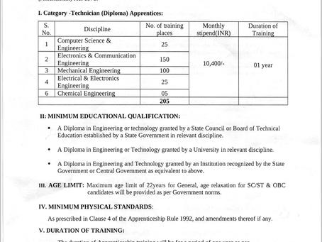 BEL Technician Apprentice Recruitment 2021: 305 Vacancies