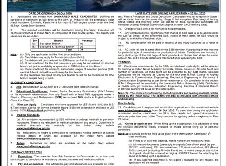 Indian Navy Recruitment 2020- 10+2 B.Tech Entry: Full News