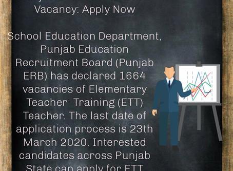Punjab Elementary Teacher  Training (ETT) ETT Teacher 2364 Vacancies: Apply Now