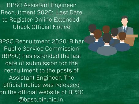Bihar Public Service Commission (BPSC) - Assistant Engineer Recruitment 2020