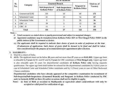 West Bengal Police Recruitment 2021: SI & Sergeant Vacancies