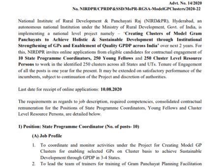 National Institute of Rural Development & Panchayati Raj (NIRD&PR), Hyderabad Recruitment 2020