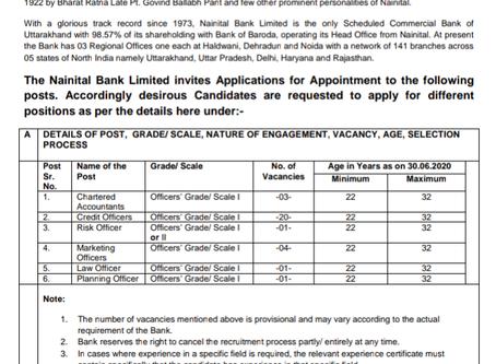Nainital Bank Recruitment 2020: Apply for Specialist Officer Vacancies. Uttrakhand Bank Job