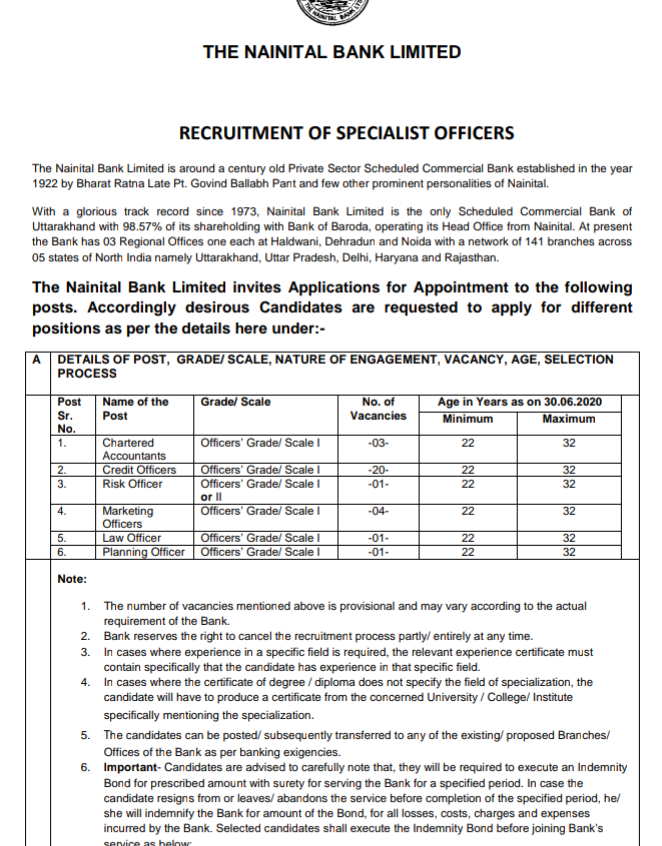 Nainital Bank Recruitment 2020: Apply for Specialist Officer Vacancies