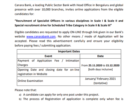 Canara Bank Recruitment 2020: 220 Vacancies