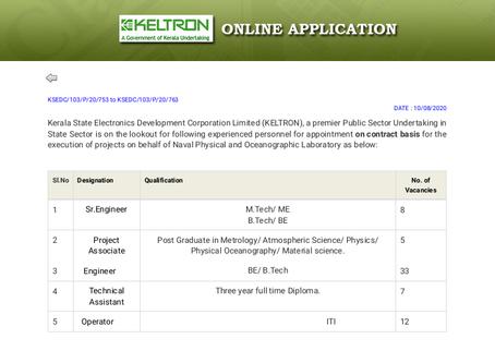 KELTRON Recruitment 2020 - Project Associate, Engineer, Technical Asst & Operator Vacancies