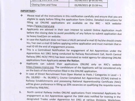 North Central Railway Apprenticeship Recruitment 2021: 1664 Posts