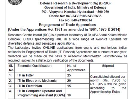 Defence Research & Development Organisation Recruitment 2020: Trade Apprentice Vacancies