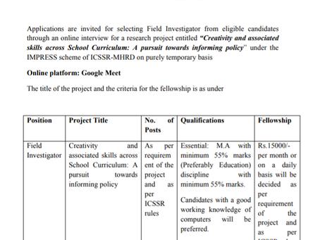 Delhi University Education Department Recruitment 2020 - Field Investigator Posts