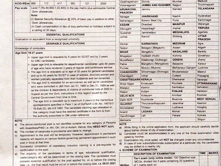 Intelligence Bureau (IB) Recruitment 2020: ACIO Vacancies