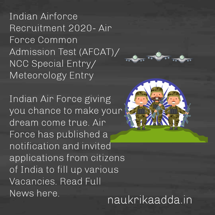 Indian Air Force Recruitment 2020- Air Force Common Admission Test (AFCAT)/ NCC Special Entry/ Meteorology Entry