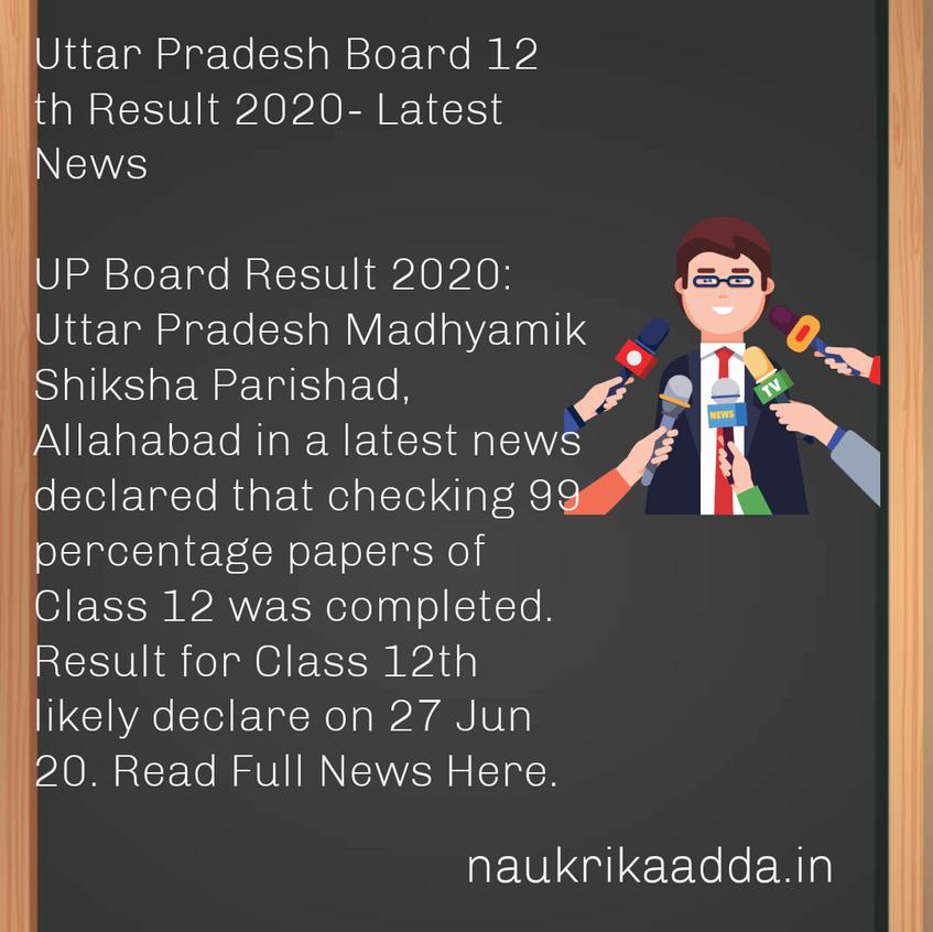 Uttar Pradesh Board 12 th Result 2020- Latest News