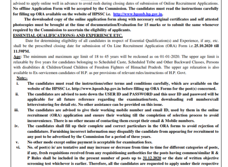 Himachal Pradesh Staff Selection Commission (HPSSC) Recruitment 2020: 2254 Various Posts