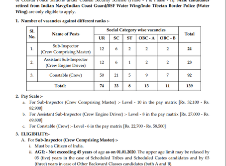 West Bengal Coastal Police Recruitment 2020 for Ex Servicemen of Indian Navy/ Coast Guard/ BSF/ ITBP