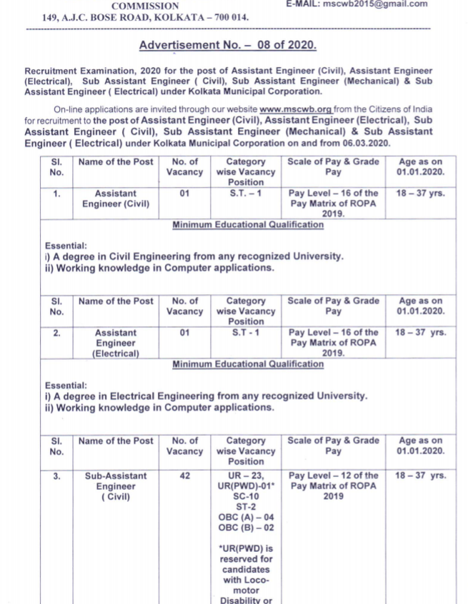 West Bengal Municipal Service Commission Recruitment 2020- 79 Asst Engineer and Sub Asst Engineer Posts.