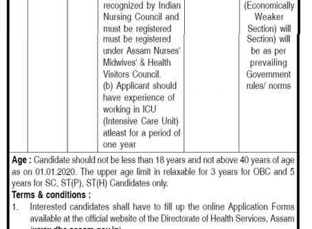 Directorate of Medical Education (DME), Assam Recruitment 2020: Staff Nurse Vacancies