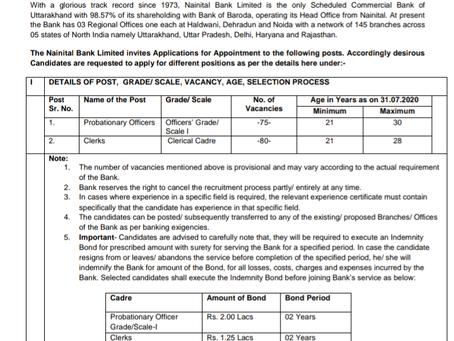 Nainital Bank Recruitment Notification 2020 - PO and Clerk Vacancies
