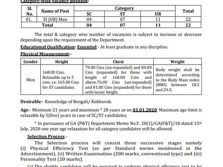 Tripura Public Service Commission (TPSC) Recruitment 2020 - Sub Inspector (Men)