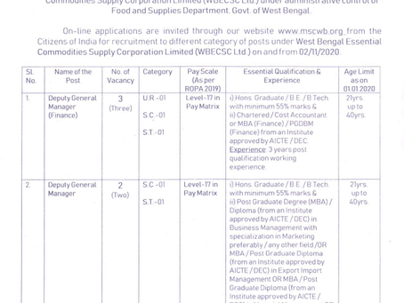 West Bengal Municipal Service Commision Recruitment 2020: Various Posts