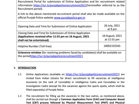 Punjab Police Recruitment 2021: 1191 Intelligence Assistant