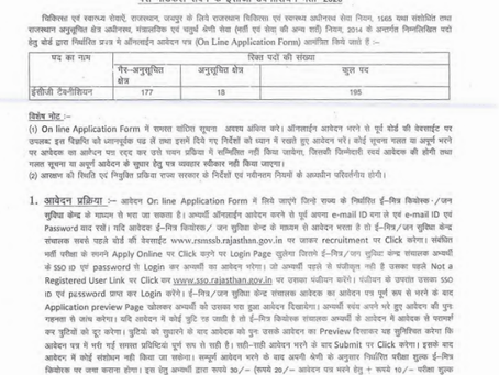 Rajasthan Subordinate & Ministerial Services Selection Board (RSMSSB) - ECG Technician Vacancies