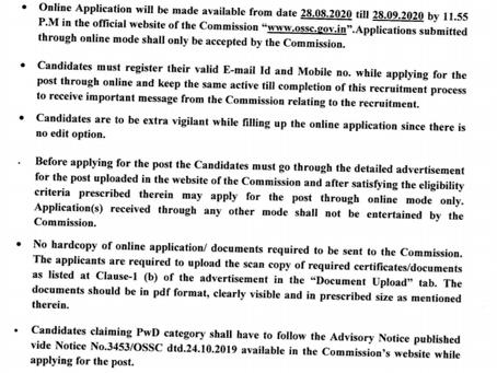 Odisha Staff Selection Commission (OSSC)  Recruitment 2020: Field Assistant Vacancies