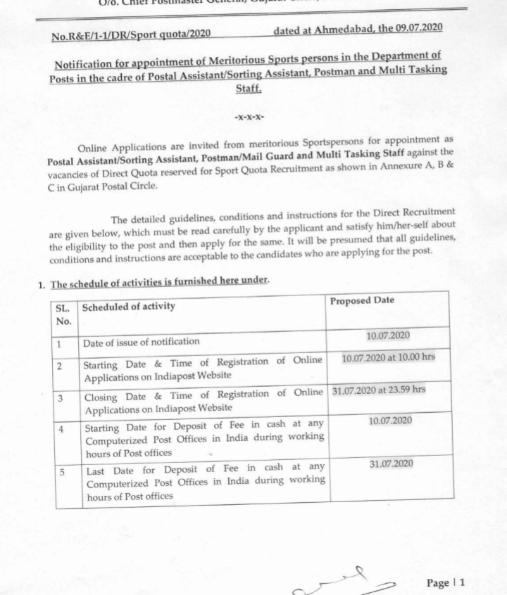 Gujarat Postal Circle Recruitment 2020 - 144 Postal Assistant/ Sorting Asst, Postman, Multi Tasking Staff