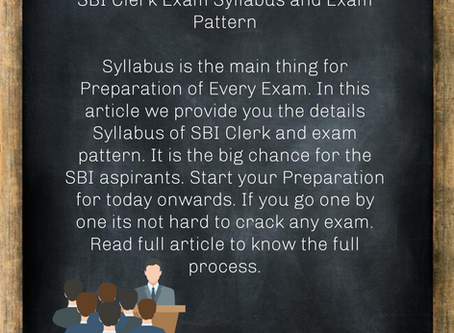 SBI Clerk Exam Syllabus and Exam Pattern